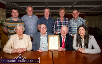Killarney Municipal District Mayor, Cllr. Bobby O'Connell presenting Coolavanny Bingo owner/ trainer, Noel Browne with a certificate during the civic reception in his honour at the special meeting at the River Island Hotel, Castleisland on Wednesday. Included are: Cáit Browne and Cllr. Maura Healy Rae, reception proposer. Back from left: Michael Broderick, Lar Keane, David Begley, Den Joe O'Connor and Eddie Mahony. ©Photograph: John Reidy
