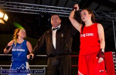 A winning nod for Katie Sugrue over Rachael Cronin as Pa O'Brien raises her arm. The ladies got a rousing reception after their all-action bout.