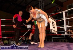 Carmel O'Connell taking a bow for her moment in the ring.