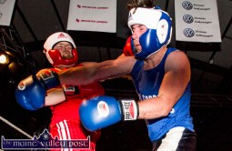 Cathal King (left) and Padraig Brosnan trading leather at 'The Brawl' last night.