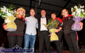 There were flowers for Sliabh Luachra Boxing Club ladies, Jennifer O'Sullivan-Coffey, Carmel O'Connell and Abine McSweeney and praise for Pat Hickey as they were pictured with MC Gerdie Murphy after the event.