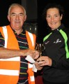 Humphrey Murphy 5k Road Race ladies winner was Sharon Cahill, An Ríocht AC seen here being presented with her prize here by Charlie Farrelly. Photograph: Pat Hartnett