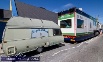 Going Mobile in Miltown Malbay: A Legion of Mary mobile and a Radio Na Gaeltachta outside broadcast unit parked up and doing business at the annual Willie Clancy Summer School in Miltown Malbay. ©Photograph: John Reidy 7-7-2016