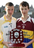 Cordal/Scartaglin U-14 joint captains Nathan O'Rourke (left) and Sean O'Connor accept the East Kerry Region Division 5 Shield after they defeated Spa in the final at Fitzgerald Stadium. Photograph: Danny Kelliher