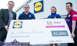 Declan Murphy, Lidl Sales Operations Manager Kerry (left) pictured with Pat Sheehan and Sandra O'Connor, Castleisland Desmonds Ladies GAA Club and Martin Leen, Lidl Deputy Manager at the presentation ceremony at the Tralee Road store in Castleisland on Monday evening. ©Photograph: John Reidy