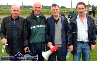 Members of the organising group of the annual Knocknagoshel Pattern Festival Sports at Willie Walsh Memorial Park on Sunday, from left: Moss McElligott , Christy Brosnan, Tom Greaney and Eddie Barrett. ©Photograph: John Reidy 15-8-2004