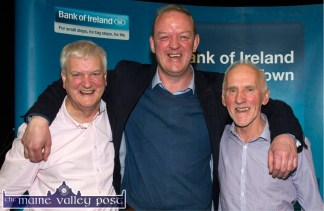 Former Munster, Irish and Lions Rugby great, Mick Galwey re-enacting his Stringer / O'Gara moment with Bank of Ireland, Castleisland manager, Paddy Garvey (left) and committee member, Donal O'Connor at the 2015 Bank of Ireland Two-day Enterprise Town Expo in Castleisland. ©Photograph: John Reidy