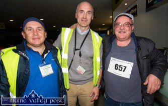 Looking after the throngs at the Build4LIfe Run the Runway 5K at Kerry Airport on Friday night were: Brian O'Sullivan (left) with Bill Horgan, Castleisland RFC and Joe Browne, Build4Life Charity founder. ©Photograph: John Reidy