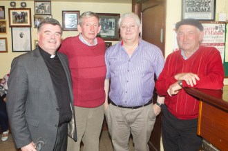 Enjoying the launch of the 2016 Garry McMahon Singing Weekend, Thursday 29th September, The Ramble Inn, Abbeyfeale, Co Limerick. Fr Tony Mullins, Brian O'Brien, Philip Enright and Gerry Rourke. JDM Photography
