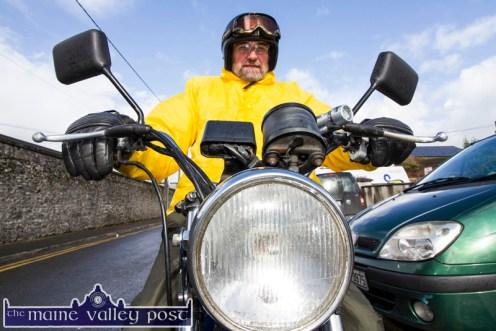 David Osborn, Kilmallock arriving on his vintage motorcycle before Sunday morning's Honda Run in aid of Castleisland Day Care Centre. ©Photograph: John Reidy