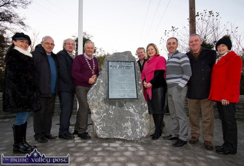 Farranfore Development Association members and invited guests preparing for Sunday, December 4th official unveiling of the 1916 centenary monument in Farranfore. Included are: Marie O'Sullivan (left) and John O'Donoghue, Farranfore Development Association; Cllr. Michael Gleeson, Cllr. Brendan Cronin, Mayor of Killarney Municipal District; Richard Sherwood, Chairman, Farranfore Development Association; Angela McAllen, Head of Finance, Kerry County Council; Cllr. John Joe Culloty and John and Mairéad O'Sullivan, Farranfore Development Association. ©Photograph: John Reidy 23/11/2016