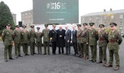 At the medal presentation ceremony at Sarsfield Barracks in Limerick were from left: Sgt. Des O'Sullivan, Cpl. Joe Doran, CQMS Donal Horgan, Pte. J. Murphy, Cpl. Aisling Griffin, Cpl. Michael O'Connor, Vice Admiral Mark Mellett DSM, Chief of Staff, Mr. Joe Martin, Paul Kehoe, Minister for Defence, Des Dowling; Assistant Secretary, Department of Defence; Commandant Tommy Martin, Captain John Mannix, Sgt. Rory Costello, Lt. Sean Coffey, Captain Rory O'Donovan. Photograph: George Daly