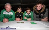 Castleisland AFC founder member, Georgie O'Callaghan looking over the plans with: Aidan Ward, Hubert Turkiewicz and Aaron O'Connor at the Castleisland Community College / Castleisland AFC All Weather Pitch Information Evening at the River Island Hotel on Thursday. ©Photograph: John Reidy