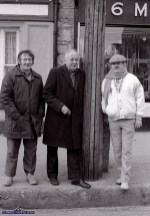 Michael Murphy (left) with Tom 'The Cobbler' McCarthy and Johnny Foran watching the first St. Patrick's Day Parade in Castleisland. ©Photograph: John Reidy 17-3-1989