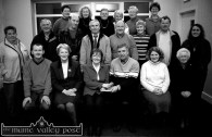 Board members of the Castleisland Day Care Centre Ltd pictured at an introduction evening at the new centre on Tuesday November 27. Front row: Michael Fitzgerald, Vice Chairman; Monica Prendiville, Secretary; Betty Twomey, presenting a cheque on behalf of her brother Sean and his wife Hannah, in Chicago to Jack Nolan, chairman; Marcella Finn Nurse co-ordinator; and Sr. Maureen. Second row from left: Cáit Curtin, Nicholas Kerins, David Fleming, John Lyons, PRO; Donal Nelligan, Sheila Greaney, John Pender and Dolores Shanahan. Back row from left: Mary Doogan, Margaret O'Connor, Daisy O' Connor, Joan McCarthy, Maxi Curtin and Marie McCarthy. ©Photograph: John Reidy 27-11-2001