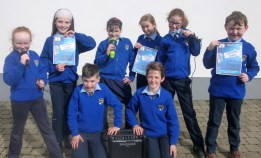 Kilmurry National School pupils getting in on the Karaoke act as saturday night's big competition approaches. Included are: Gerard Costello (left) and Shane Kelliher with: Seána Walsh, Isabelle Brosnan, Sharon Fitzmaurice, Amelié Kerin, Laura O'Donoghue and Evan Greaney. Photograph: Kilmurry NS.