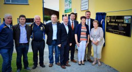 At the unveiling of the plaque on the Tom Wrenn Memorial Stand with the late Mr. Wrenn's wife and daughter, Breda and Bríd were: Maurice Costello, Pat Ahern, Charlie Farrelly, Richard O'Donoghue, Seán Kelly, MEP; Brendan Griffin, TD, Minister of State at the Department of Transport, Tourism and Sport; Bríd Wrenn, Tim Murphy, Kerry County Board chairman and Breda Wrenn. CúlPix/Nora Fealey 2017©