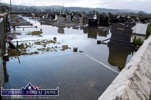 Recurring problem: Maher's side of Kilbanivane Cemetery under flood water again in early January 2016. ©Photograph: John Reidy 4-1-2016
