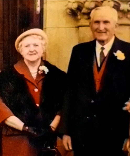 My great grandparents, Mick and Nell Terry Pierce outside Castleisland Parish Church after the wedding of my grandmother Kathleen Pierce to Paddy Curtin on February 11th 1965.