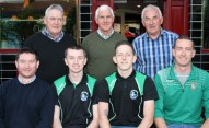 Castleisland AFC representatives, seated from left: Mike Brosnan, Paul Carmody, Dean Poolman and Aidan O'Callaghan with Castleisland Races Committee members, back from left: John Ryan, Tom O'Sullivan and Charlie Farrelly at the annual cheque presentation ceremony at Tom McCarthy's Bar on Friday night. Photograph: Pat Hartnett.