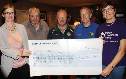 Presentation of proceeds from the vintage run to Ann Marie Pembroke of Downs Syndrome Kerry (left) with Peter O'Connor, orgainsing committee Tony Hehir, chairman KVVCCC with George and Joan Glover organisers of the annual run. Photo by Pat Hartnett
