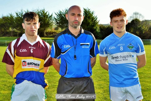 Cordal/Scart captain Padraig O'Connor (left) and Firies captain Niall O'Donoghue pose for a photo with referee Brian Fleming before last Sunday's East Kerry Minor Championship match in Cordal. CúlPix/Nora Fealey 2017©