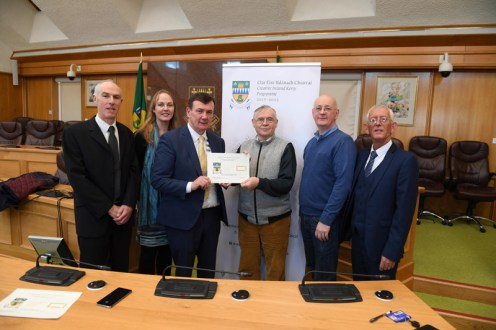 Mayor of Kerry John Sheahan presents Paddy Keane Lartigue Monorail and Museum, Listowel: for a project to catalogue and digitise its unique collection of rare archival material. -- Also pictured in the Kerry County Council Chambers were Kate Kennelly Arts Officer KCC , Tommy O'Connor KCC , Michael Lynch KCC and Cllr Sam Lock . Photograph: Domnick Walsh © Eye Focus LTD ©