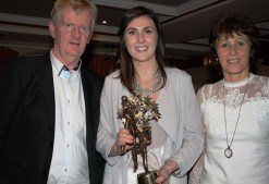 2017 TG4 All Star Kerry and Desmonds club footballer, Lorraine Scanlon pictured at the reception in her honour with her parents, Paud and Mary. Photograph: Pat Hartnett.