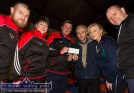 First night: Willie Reidy (centre right) representing his son, Mort Reidy of the London based ROL Construction presenting a cheque for €1,000 to Sliabh Luachra Boxing Club coach, John O'Connell with officers from left: John Coffey, Carmel O'Connell, Jennifer O'Sullivan-Coffey and Barry Walsh. ©Photograph: John Reidy