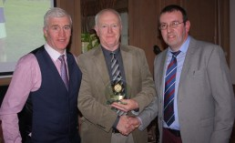 Senior team manager, Andy O'Leary receiving his award from club Chairman, Maurice Costello, (left) and Secretary, Richard O'Donoghue on Saturday night. Photograph: Danny Kelliher
