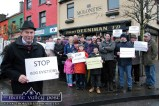 Denis Scannell leading the bog protesters outside the offices of Minister Jimmy Deenihan in Listowel in January 2012. ©Photograph: John Reidy 28-1-2012