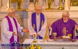 Castleisland PP, Monsignor Dan O'Riordan (left) with Fr. Seán Horgan and Fr. David Lupton celebrating the mass at the funeral of Georgie O'Callaghan in the Church of Saints Stephen and John in Castleisland on Thursday. ©Photograph: John Reidy