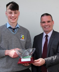 Principal, Denis O'Donovan pictured with Academic Excellence Award winner Paul Walsh.