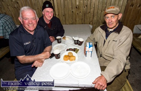 Johnny Brosnan, Currow (left) pictured with: Michael O'Connor, Ballyhar and John Mangan, The Kerries availing of the hospitality at the 2017 Topline Browne's Home, Agri and Builders Providers Open Day in Castleisland. ©Photograph: John Reidy