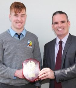 Principal, Denis O'Donovan pictured with Jim Lyons Award winner, Stephen Murphy.