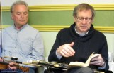 Skip Gorman listens as Peter Browne delivers his take on the playing of airs during the What was in the Air discussion in Fleming's Bar at World Fiddle Day Scartaglin on Saturday afternoon. ©Photograph: John Reidy