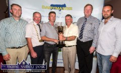 The presentation of the Dairymaster Perpetual Cup for the best overall cow/heifer was made to Timmie Kirby, Smearlaview Herd (centre left) by Liam Leen Dairymaster. Included are from left: Noel Scanlon Dairymaster, Peter Kennelly, president I.H.F.A.; Michael Laffan, judge and William Horgan, N.C.R. Kerry Holstein Friesian Breeders at the annual Kerry Friesian Breeders Herds Competition Awards Ceremony at Ó Riada's Bar and Restaurant, Ballymacelligott. ©Photograph: John Reidy