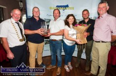 Presentation to the Costello family host farmers for the I.H.F.A. club field evening with from left: Peter Kennelly, president I.H.F.A.; Leo O'Connor, Maurice and Eva Costello, Ronan Sugrue and John Dillon, club chairman at the annual Kerry Friesian Breeders Herds Competition Awards Ceremony at Ó Riada's Bar and Restaurant, Ballymacelligott. ©Photograph: John Reidy