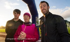 Taking the numbers at the finishing line were: Callum Baker (left) Cathleen Reidy and Liam McDonough at the last of the three autumn 5K races at An Ríocht AC, Castleisland. ©Photograph: John Reidy