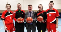 Pre-season get together for St. Mary's basketball U-18 team members and mentors: Danni Reidy (left) is pictured with Liam Culloty coach; Cllr. John Sheahan, Cathaoirleach Killarney Municipal District; Aoife Nolan coach and Ciara Ryan.