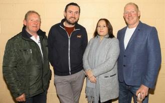 Connie Fitzgerald, Des Collins, Sinead Scanlon and Kieran Scanlon enjoying the Currow GAA Lord Mayor election night at Currow Community Centre on Friday night. Photograph: Con Dennehy.