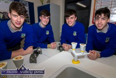 Students pouring over the new facilities in the new lab at Castleisland Community College on Friday night included from left: Greg Curran, Mark O'Donoghue, Kevin Keane and Eamon Nolan. ©Photograph: John Reidy