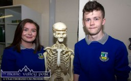 Students, Laura Fleming and D.J. O'Connell pictured at the launch of the new science lab at Castleisland Community College on Friday night. ©Photograph: John Reidy