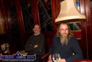 The hat that doesn't fit: PJ Teahan and Gearóid Ó Duinnín enjoying the opening of the 26th annual Patrick O'Keeffe Traditional Music Festival at the River Island Hotel on Friday night. ©Photograph: John Reidy