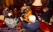 Kathy Cook with clockwise from left: Eoin Stan O'Sullivan, PJ Teahan, Forbes Robinson, Paddy Jones and Mick Culloty playing at the opening of the 26th annual Patrick O'Keeffe Traditional Music Festival at the River Island Hotel on Friday night. ©Photograph: John Reidy