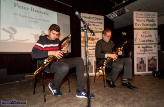 Ciarán and Peter Browne playing a set of tunes at the Handed Down special tribute to Peter Browne in Scartaglin on Saturday night. ©Photograph: John Reidy