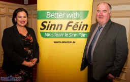 Sinn Féin President, Mary Lou McDonald, TD pictured with Séamus Sherlock, Chairman of the Irish Cattle and Sheep Farmers' Association at the Rural Revival Conference at the River Island Hotel in Castleisland on Saturday night. ©Photograph: John Reidy