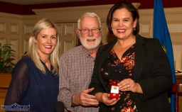 Cllr. Toiréasa Ferris and her dad, Deputy Martin Ferris made a presentation of an All-Ireland Gaelic Football medal to their party leader and Dubs supporter Mary Lou McDonald, TD at the Rural Revival Conference at the River Island Hotel in Castleisland on Saturday night. ©Photograph: John Reidy