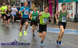 Setting out: The first four remained just that to the race end in the Run Rudolph Run 5K Road Race in Castleisland on Sunday. From left: Arthur Fitzgerald, (4th); Seán O'Sullivan, (3rd); Conor O'Mahony (1st) and Tim O'Connor, (2nd). ©Photograph: John Reidy