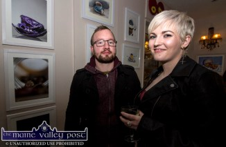 Showing their stuff; Ross Medcalf and Caoimhe Heaney at the Starving Artists / Island Sessions Exhibition at Nana Bea's Cafe in Castleisland on Saturday night. ©Photograph: John Reidy
